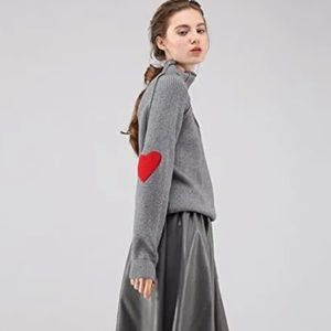 CHICWISH Heart and Soul Patched Knit Sweater, Grey